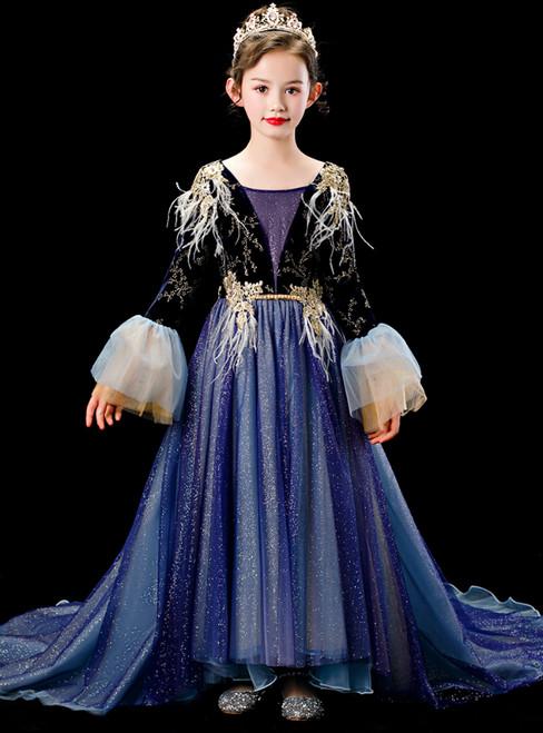 In Stock:Ship in 48 Hours Navy Blue Tulle Sequins V-neck Long Sleeve Flower Girl Dress