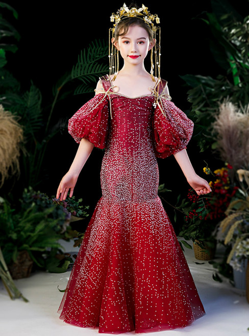 In Stock:Ship in 48 Hours Red Mermaid Beading Straps Puff Sleeve Flower Girl Dress