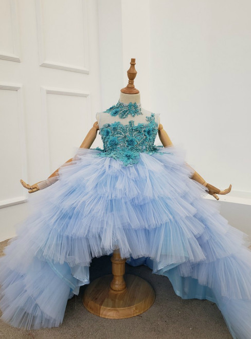 Sky Blue Ball Gown Tulle Tiers Appliques Flower Girl Dress