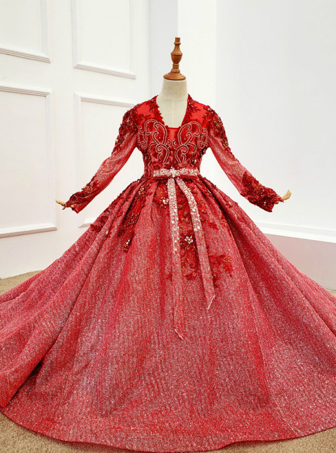 Red Ball Gown Tulle Sequins V-neck Long Sleeve Appliques Beading Flower Girl Dress
