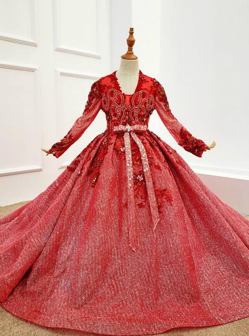 Red Ball Gown Tulle Sequins V-neck Long Sleeve Appliques Beading Flower Girl Dress