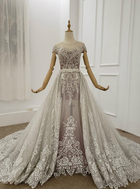 Light Gray Tulle Appliques Beading Cap Sleeve Wedding Dress Removable Train