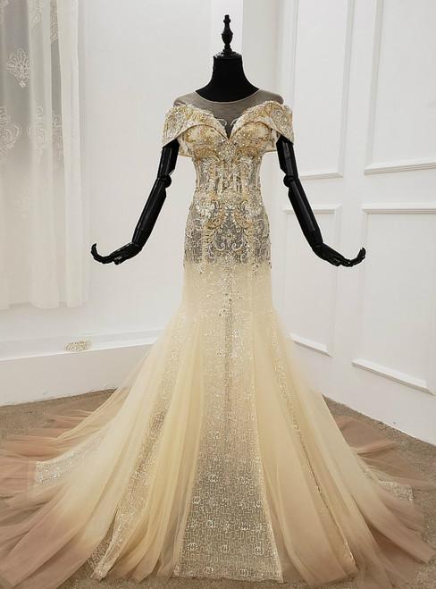 Champagne Mermaid Tulle Sequins Cap Sleeve Beading Crystal Wedding Dress