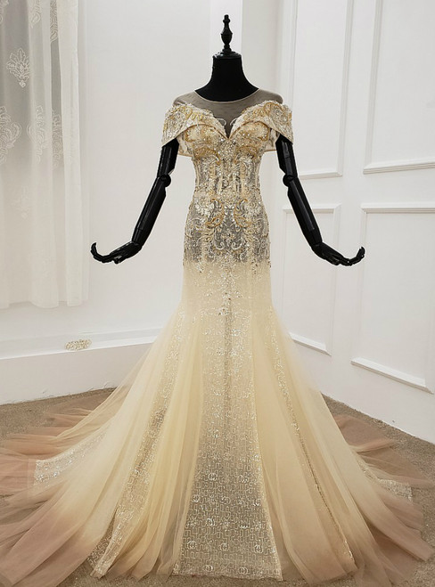 Champagne Mermaid Tulle Sequins Cap Sleeve Beading Crystal Wedding Dress
