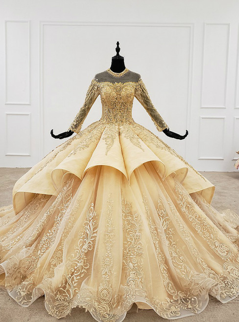 Gold Ball Gown Tulle Long Sleeve Appliques Backless Wedding Dress