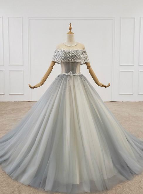 Blue Ball Gown Tulle Sequins Floor Length Wedding Dress