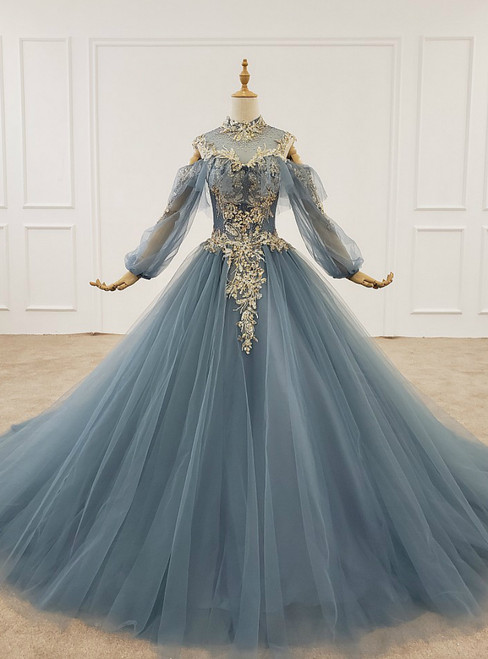 Dark Blue Ball Gown Tulle High Neck Long Sleeve Sequins Wedding Dress