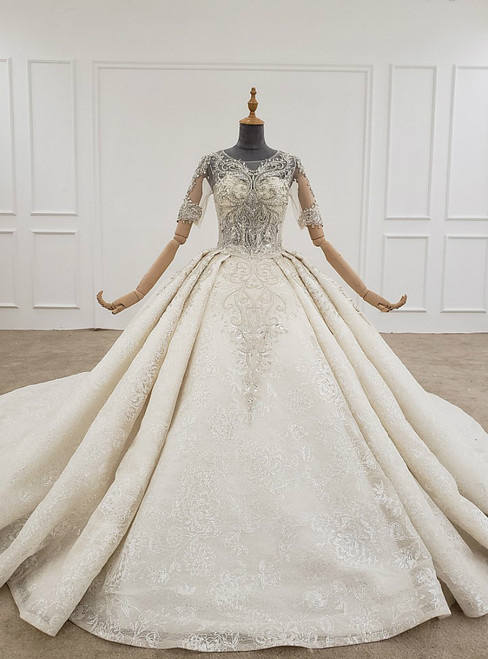 Ivory Ball Gown Tulle Sequins Short Sleeve Backless Beading Wedding Dress