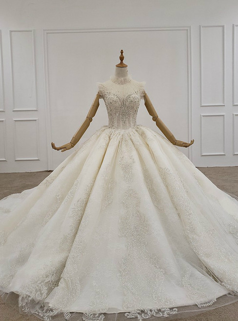 Light Champagne Ball Gown Tulle Sequins Beading Wedding Dress With Train
