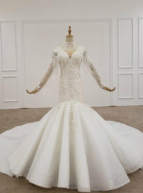 White Mermaid Tulle Sequins V-neck Long Sleeve Appliques Beading Wedding Dress
