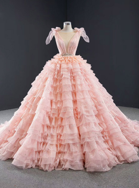 Pink Ball Gown Tulle V-neck Backless Beading Long Prom Dress