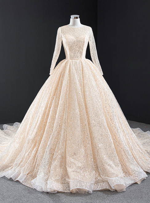 Champagne Ball Gown Tulle Sequins Long Sleeve Prom Dress