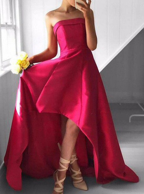 A-Line Strapless High-Low Fuchsia Satin Prom Dress