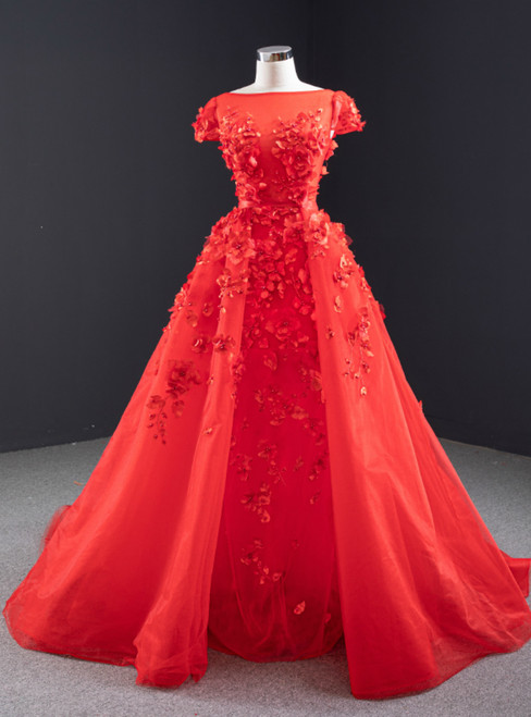 A-Line Red Tulle Appliques Cap Sleeve Prom Dress With Removable Train