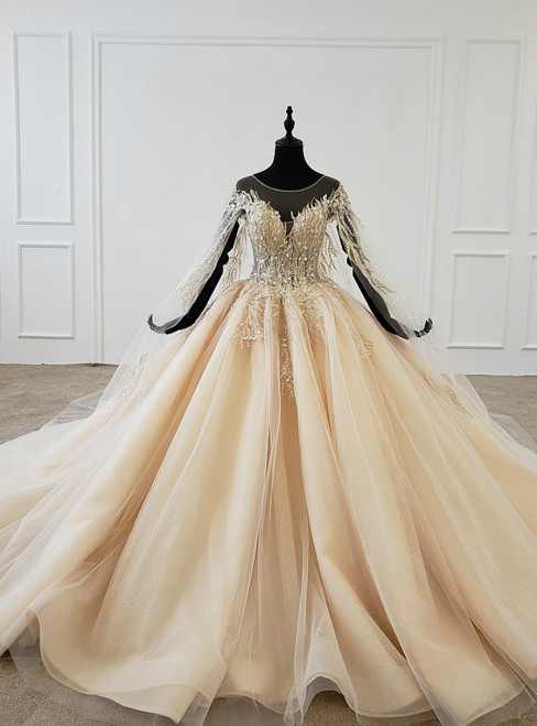 Gold Ball Gown Tulle Sequins Backless Appliques Beading Wedding Dress