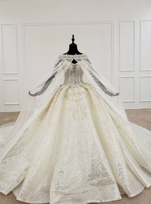 Champagne Ball Gown Sequins Sweetheart Beading Wedding Dress With Shawl