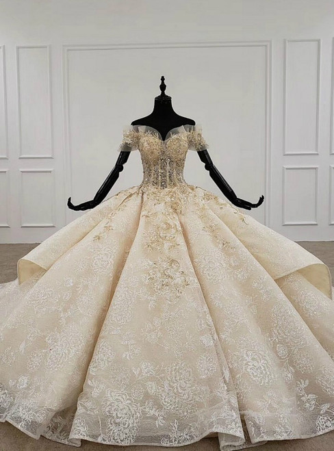Champagne Ball Gown Tulle Sequins Appliques Off the Shoulder Luxury Wedding Dress