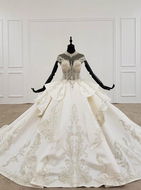 Ivory White Ball Gown Satin High Neck Cap Sleeve Backless Beading Wedding Dress