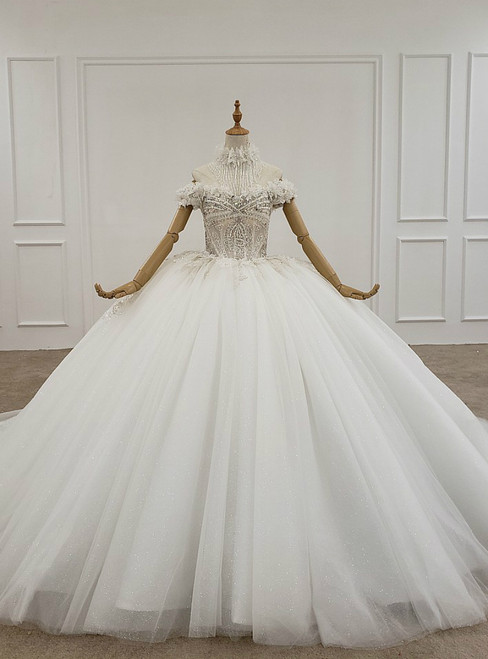 White Ball Gown Tulle Off the Shoulder Appliques Beading Wedding Dress