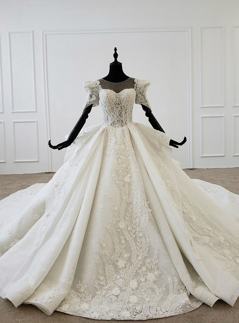 White Ball Gown Tulle 3D Flower Short Sleeve Beading Wedding Dress