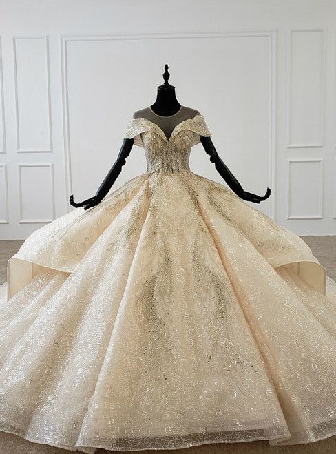 Champagne Ball Gown Tulle Sequins Cap Sleeve Backless Wedding Dress