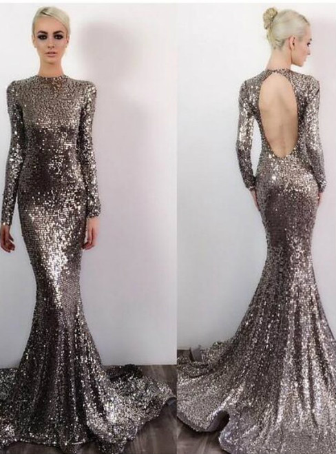 Sequin Prom Dresses Prom Dress Backless Evening Gown Long Formal Dress