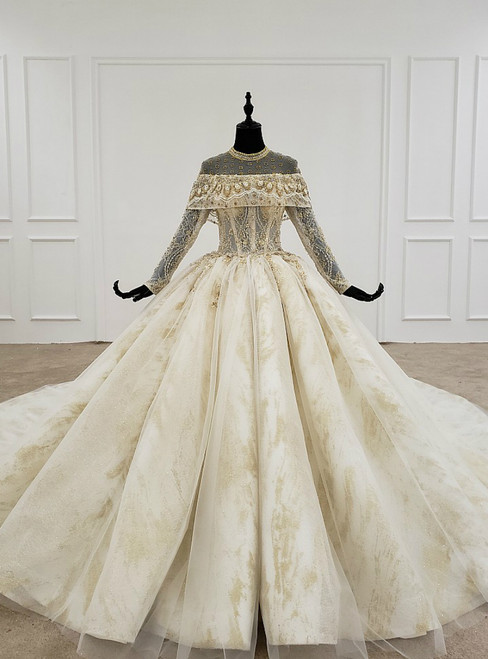 Champagne Ball Gown Tulle Lace High Neck Long Sleeve Backless Wedding Dress