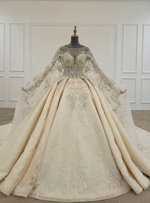 Champagne Ball Gown Tulle Sequins Beading Wedding Dress With Long Train