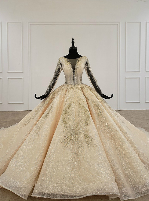 Champagne Ball Gown Tulle Sequins Long Sleeve Luxury Wedding Dress With Beading
