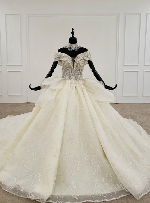 Champagne Ball Gown Tulle Sequins Off the Shoulder Beading Luxury Wedding Dress