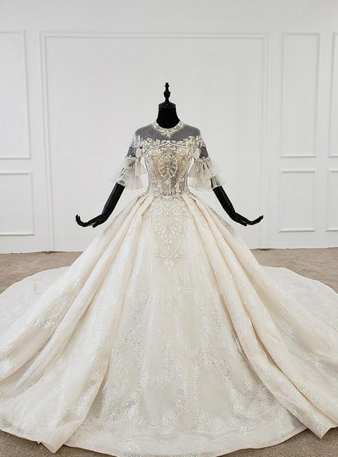 Champange Tulle Sequins Short Sleeve Backless Beading Wedding Dress
