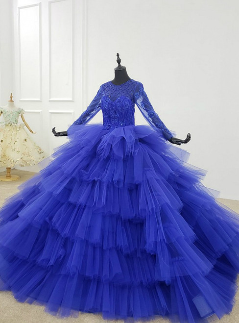 Blue Ball Gown Tulle Tiers Long Sleeve Beading Wedding Dress