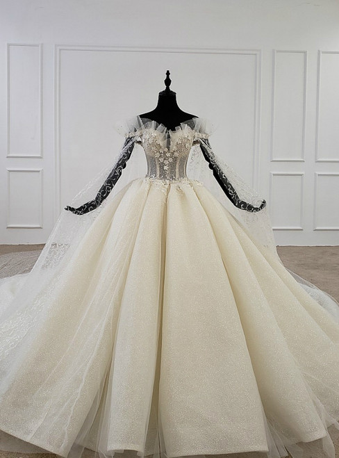 Stunning Champagne Ball Gown Tulle Sequins Off the Shoulder Appliques Wedding Dress