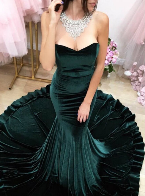 Sexy Prom Gowns Prom Dress Long Hunter Green Evening Dress Modest Formal Dress