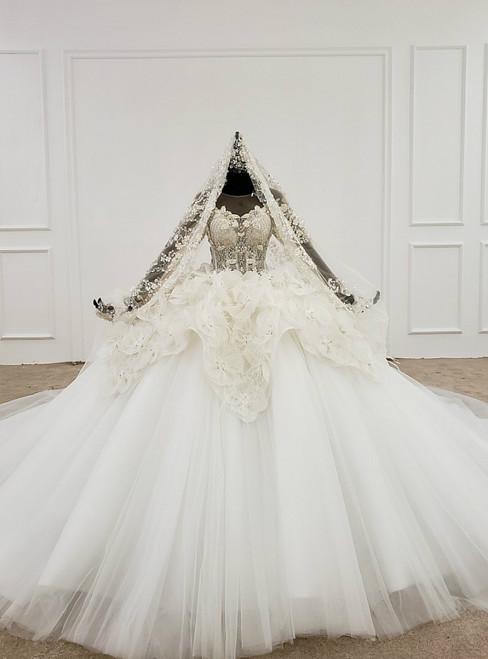 White Ball Gown Tulle Flower Long Sleeve Beading Sequins Wedding Dress