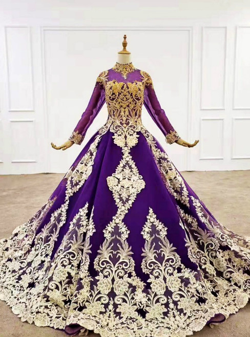 Dark Purple Ball Gown Tulle Long Sleeve High Neck Wedding Dress