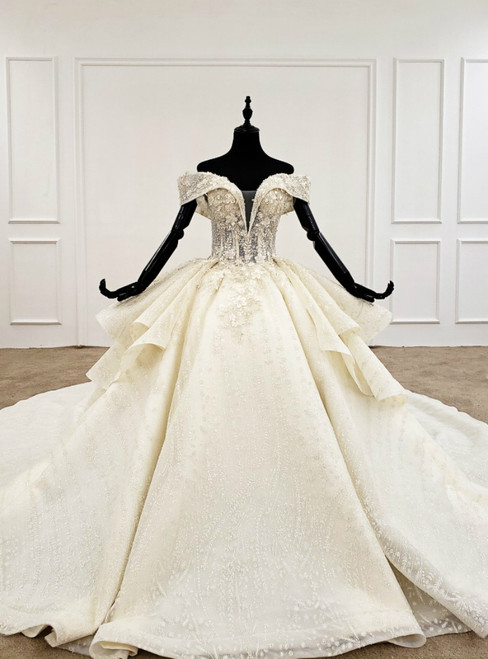 Champagne Ball Gown Tulle Appliques Off the Shoulder Wedding Dress With Long Train