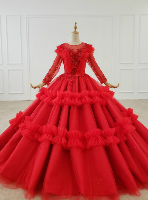 Red Ball Gown Tulle Long Sleeve Appliques Beading Floor Length Wedding Dress