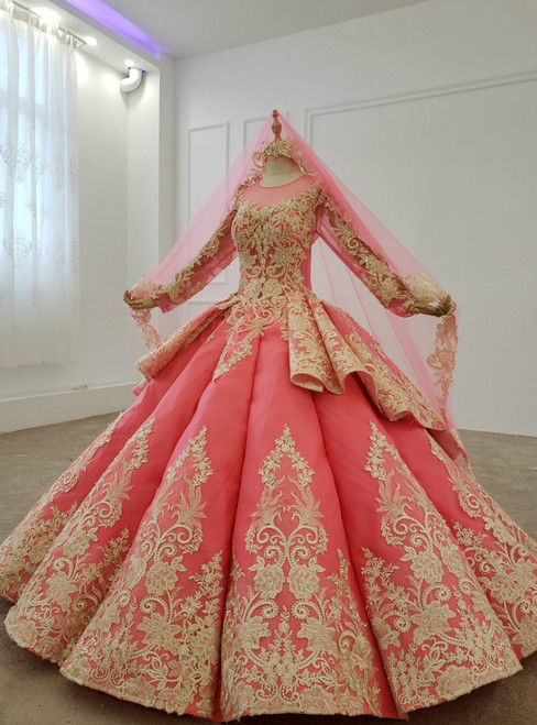 Watermelon Red Ball Gown Lace Appliques Long Sleeve Wedding Dress