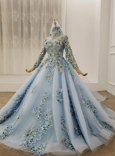 Blue Ball Gown Tulle High Neck Long Sleeve Appliques Beading Wedding Dress