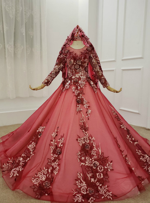 Dark Red Tulle Embroidery Appliques Long Sleeve Wedding Dress
