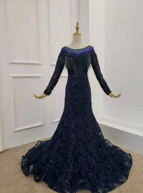 Navy Blue Tulle Sequins Long Sleeve Beading Prom Dress