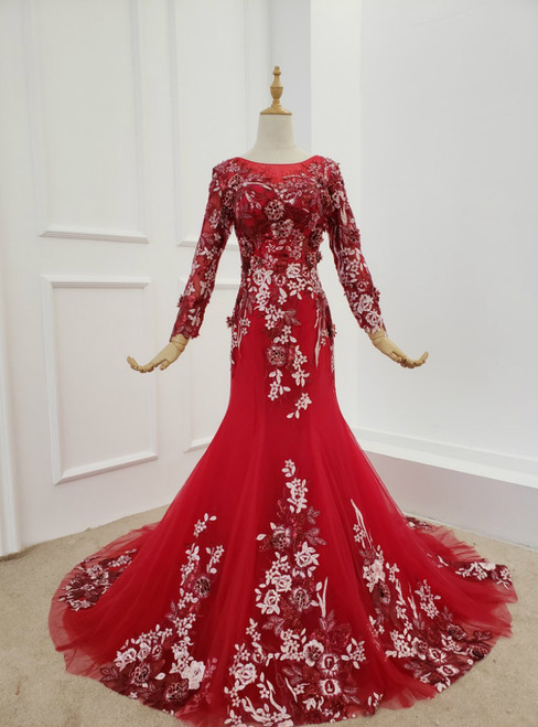 Dark Red Tulle Embroidery Appliques Long Sleeve Prom Dress