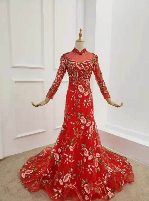 Red Mermaid Tulle Embrodiery Appliques Long Sleeve Prom Dress
