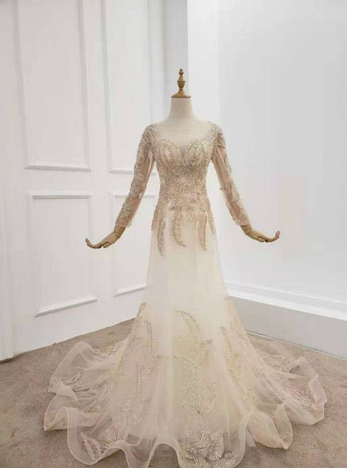 Champagne Mermaid Tulle Long Sleeve Prom Dress With Beading