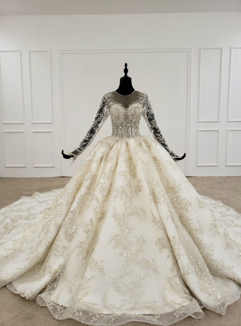 Champagne Ball Gown Tulle Sequins Long Sleeve Backless Appliques Wedding Dress