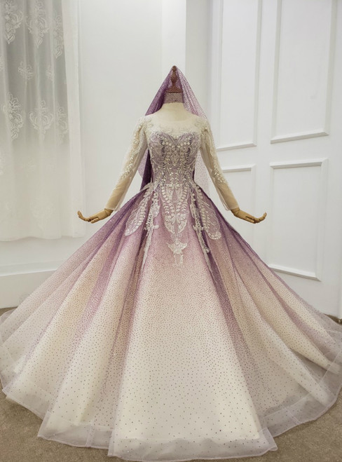 Purple Ball Gown Tulle Sequins Long Sleeve Wedding Dress