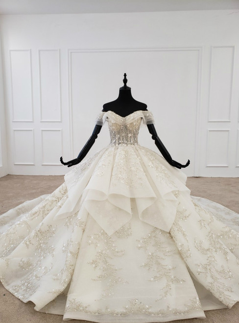 Champagne Ball Gown Tulle Sequins Off the Shoulder Appliques Beading Luxury Wedding Dress