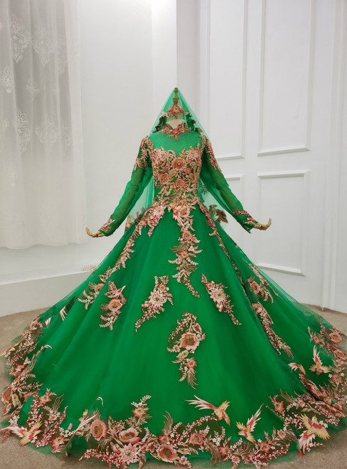 Green Tulle Long Sleeve Embroidery High Neck Wedding Dress