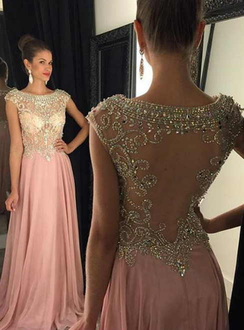 Beaded Bodice Sheer Back Floor Length Long Evening Dress Party Dress Prom Gown